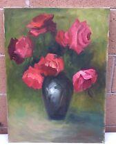 18 x 24 Canvas Red Flowers W/Dark Vase. Green Background Unsigned