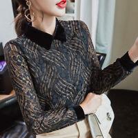 Elegant Women Ladies Velvet Slim Long Sleeve Casual Sheer Lace Shirt Blouse Tops