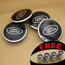 BLACK / CHROME CAR ALLOY WHEEL CENTER CAP HUB EMBLEM BADGE 62mm FOR LAND ROVER