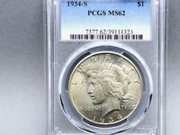 1934-S PCGS MS 62 Peace Silver Dollar! Beautiful Original Coin! Premium Quality!