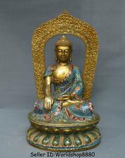 "18.4"" Old Cloisonne Enamel Copper Tibet Shakyamuni Amitabha Buddha Lotus Statue"