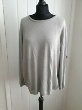 NINA LEONARD pale Grey And Sparkly Silver Fine Knit Jumper Size 3XL