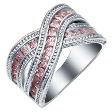 Women 925 Silver Ring Cross Rectangle Pink Topaz & White Zircon For Wedding#6-10