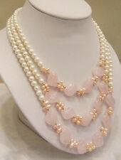 3 Rows Genuine White Pink Pearl Pink Crystal 18KWGP Clasp Necklace