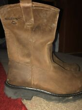 MENS WOLVERINE WORK - Oil/Slip Resistant   LEATHER BROWN BOOTS SIZE 9.5