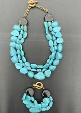 Gorgeous Vintage Kenneth Lane Chunky Turquoise Triple Strand Necklace & Bracelet