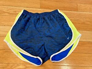 NIKE Women's Sz M Dri-Fit Sport/Running Shorts Blue/Neon Yellow Adjustable Waist