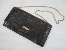 Clutch Handtasche Abendtasche Kette Kroko-Optik Echt Leder braun vintage /54