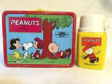 Vintage 1973 Peanuts Metal Lunch Box with Thermos Snoopy Charlie B 00006000 rown Linus