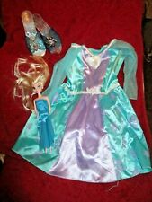 Disney Frozen Elsa Dress Up Costume Play Size 3T-4T- With Shoes And Doll