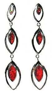 """Silver 925 SF Post Earrings Red Lab Fire Opal ELLIPTICAL 1 3/4"""" Drop"""
