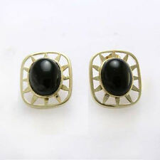 14k Solid Yellow Gold Black Onyx Earrings