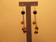 Genuine Smoky Quartz Baltic Amber black onyx sterling silver earrings