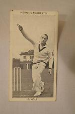 1953 - Vintage - Morning Foods Ltd. - Cricket Card - G.B. Hole - South Australia