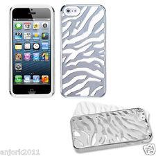 APPLE iPHONE 5 HARD ZEBRA FUSION HYBRID CASE SKIN COVER ACCESSORY SILVER/WHITE