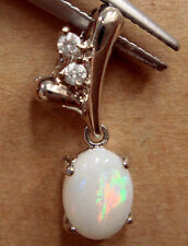 Women Natural Crystal Opal Pendant With 925 Solid SilverFREE JEWELLERY BOX!