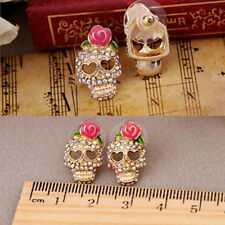 Punk Laies Womens Pink Rose Rhinestone Skeleton Skull Ear Studs Earrings Gift L7