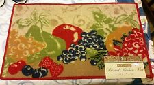 """PRINTED NYLON KITCHEN RUG (non skid latex back) (17"""" x 28""""), FRUITS by BH"""