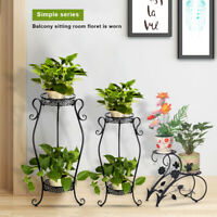 2 Tiers Metal Outdoor Indoor Pot Plant Stand Shelf  Flower Rack Wrought Iron USA