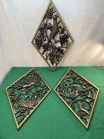 Vtg 3pc Set 1971 BURWOOD Mid-Century DIAMOND GOLD Birds Plastic 3D Wall Plaques