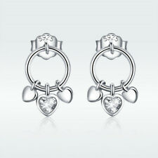 Women's Jewelry 925 Sterling Silver Earrings Stud With CZ Platinum Plated Gifts