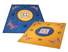 "31""Slip Slide Resistant Mahjong Domino Card Gaming Table Cover Mat Blue & Yellow"
