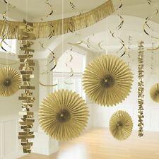 18 x Doré Pendant papier Décoration de fête en or fête chambre Kit décoration