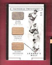 BABE RUTH Frankie Frisch Harry Heilmann GAME USED JERSEY BAT CARD #5/5 TREASURES