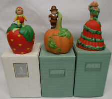3 New Old Stock Avon porcelain Bell lot Valentines Thanksgiving Christmas &boxes