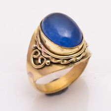 Natural Blue Jade Gemstone Ring Size US8.5, Handmade Antique Brass Jewelry BRR47