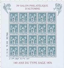 BLOC DE 20 TIMBRE GOMME  70e SALON PHILATELIQUE D'AUTOMNE 140 ANS DU TYPE SAGE