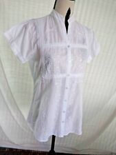 White thin cotton Sz 8 button front shirt top, VGC, heavily embroidered+sequined