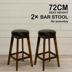 2X Wooden Bar Stools Bar Stool Dining Chairs Kitchen Black Barstools