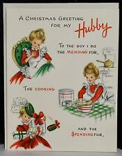 Vtg 50s UNUSED Hallmark Christmas Greeting Card For My Hubby Loving Wishes Cute