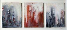 """Peinture 3 Paysages urbains abstraits, original signé HZEN """"TROIS CITÉS"""" 50x23cm"""