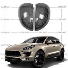 For Porsche Macan 15-20 Dry Real Carbon Fiber Door Side Mirror Cover Cap Add On