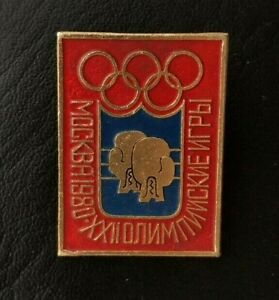 1980 Boxing XXII Olympic Games Moscow Soviet Pin Badge Sport AIBA USSR