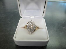 14 KT YELLOW GOLD 3/4 CARAT TCW DIAMOND CLUSTER RING W/BOX BEAUTIFUL QUALITY