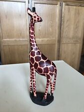 New listing Hand Carved Wood Wooden Giraffe Figurine Made in Kenya 12 Inches Tall
