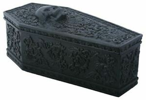 """Summit Gothic Floral Coffin Box Chest Box Jewelry Box Figurine 8.75"""" Long"""