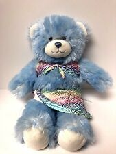 "BABW Build-A-Bear Baby Blue White Teddy Bear Plush Fuzzy Shag 16"" with Bikini"
