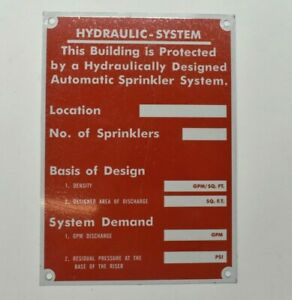 """Hydraulic System 5"""" x 7"""" Metal Sign Red Building Protected Sprinkler System Sign"""