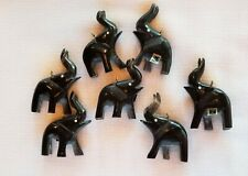 "Black Hand Carved Elephant Pendants Approximately 1 1/2"" x 2 1/2"" Package of 14"
