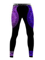 Raven Fightwear Men's Aztec Ranked Leggings Spats MMA BJJ Purple