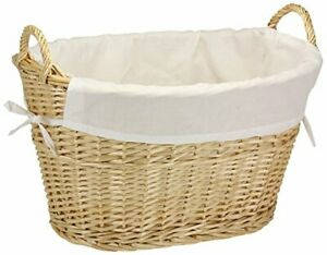 ML5569 Willow Wicker Laundry Basket with Handles and Liner | Natural Brown