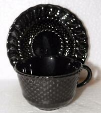 Bordallo Pinheiro Black 4 Tea Cups+Saucers Leaves-Basketweave Portugal Pottery