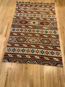 Antique Kilim Hand Woven 100% Wool Oriental Rug 4 foot x 6' genuine