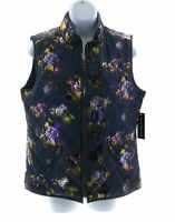 Jason Maxwell Womens Blue Floral Sleeveless Vest Winter Casual Size Small