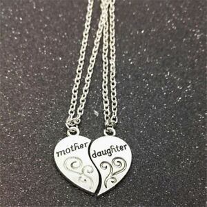 Mum And Daughter Heart Pair Silver Chain Jewellery Gift Necklace Pendant