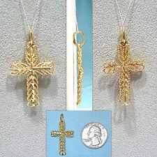 Filigree Cross Pendant Solid 14K Yellow Gold